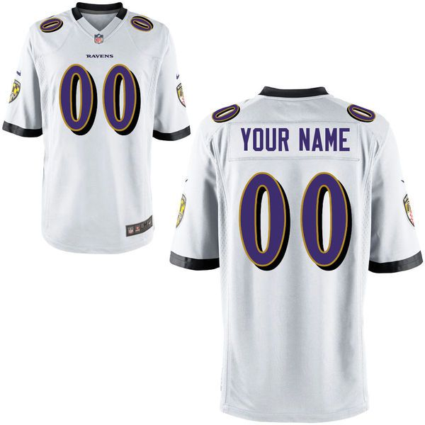 Youth Baltimore Ravens White Custom Game NFL Jersey