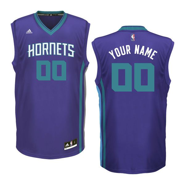 Youth Charlotte Hornets Adidas Purple Custom Replica Road NBA Jersey