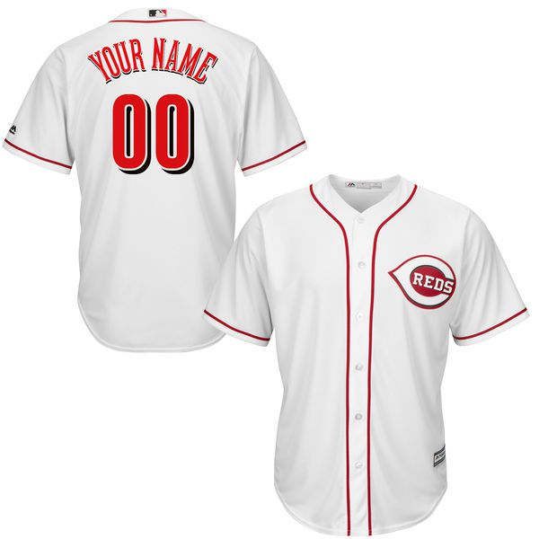 Youth Cincinnati Reds Majestic White Home Custom Cool Base MLB Jersey