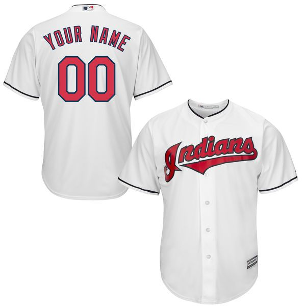 Youth Cleveland Indians Majestic White Custom Cool Base MLB Jersey
