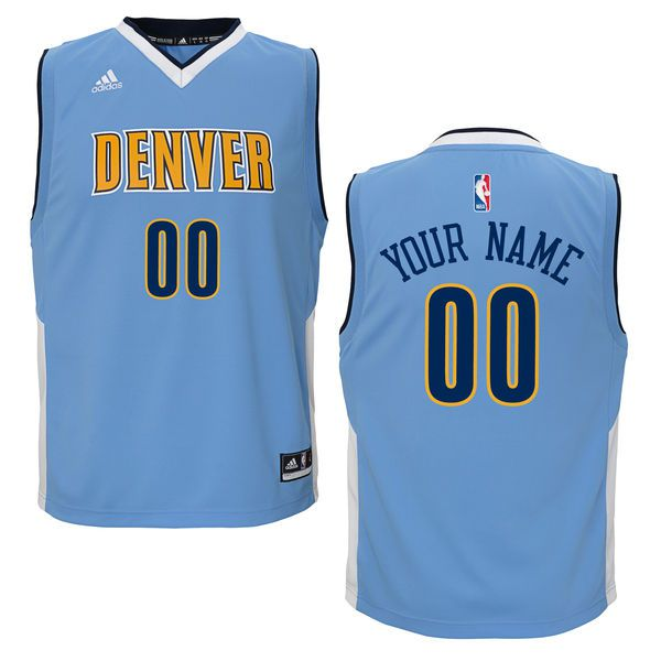 Youth Denver Nuggets Adidas Light Blue Custom Replica Road NBA Jersey