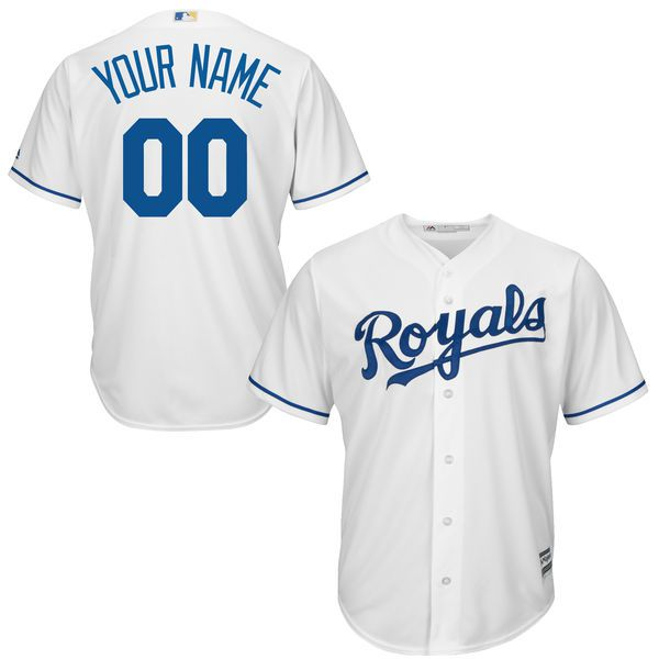 Youth Kansas City Royals Majestic White Home Custom Cool Base MLB Jersey