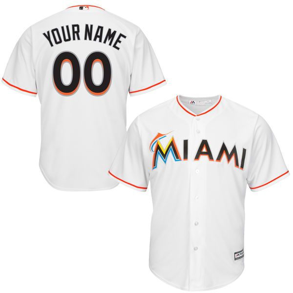 Youth Miami Marlins Majestic White Custom Cool Base MLB Jersey