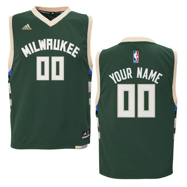 Youth Milwaukee Bucks Adidas Green Custom Road Replica NBA Jersey