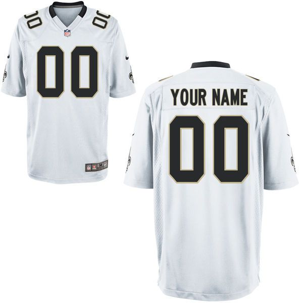 Youth New Orleans Saints Custom White Game NFL Jersey