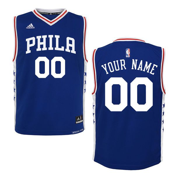 Youth Philadelphia 76ers Adidas Royal 2015 Custom Replica Road NBA Jersey