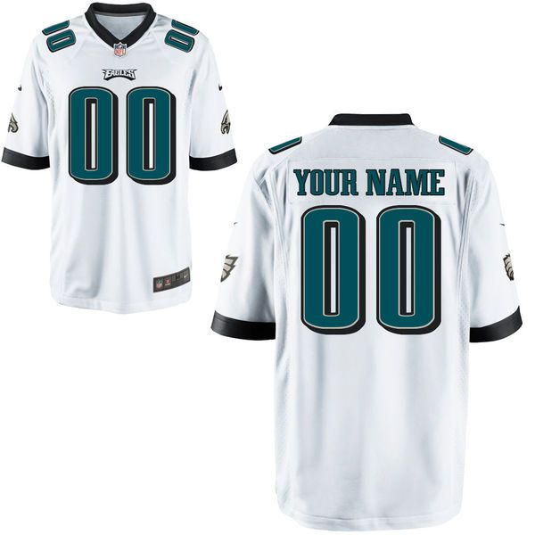 Youth Philadelphia Eagles Custom White Game NFL Jersey