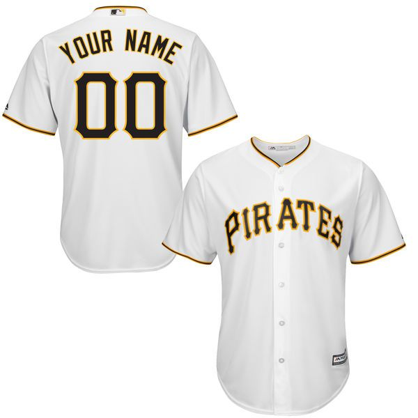 Youth Pittsburgh Pirates Majestic White Custom Cool Base MLB Jersey
