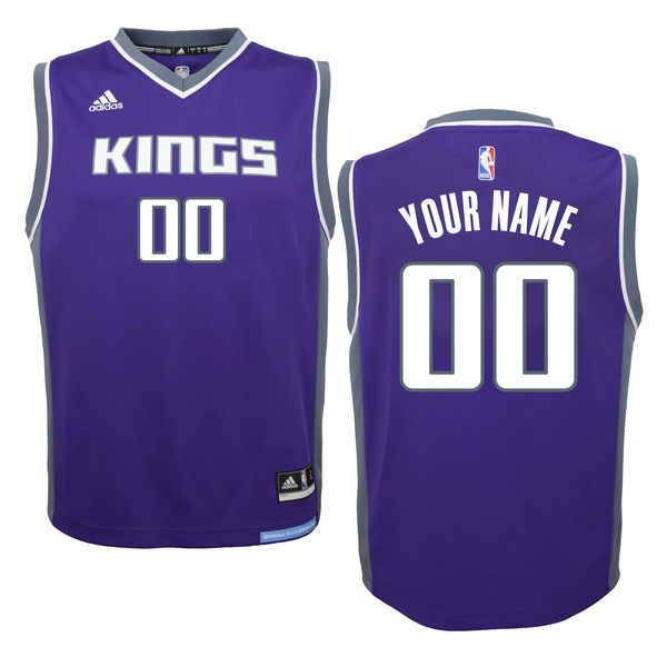 Youth Sacramento Kings Adidas Purple 2016 - 2017 Custom Road Replica NBA Jersey