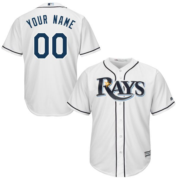 Youth Tampa Bay Rays Majestic White Custom Cool Base MLB Jersey