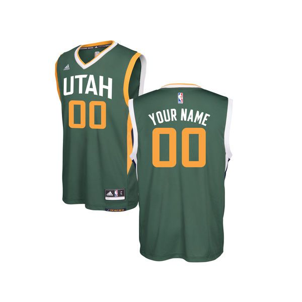 Youth Utah Jazz Adidas Green Custom Alternate Replica NBA Jersey