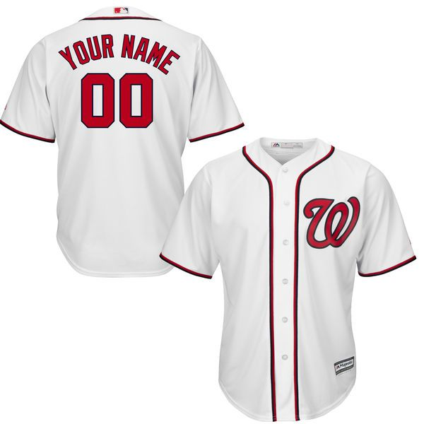 Youth Washington Nationals Majestic White Custom Cool Base MLB Jersey