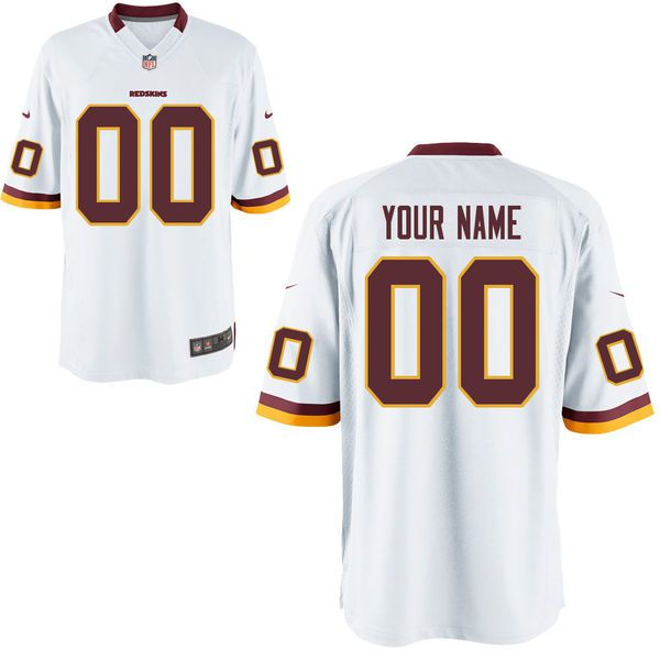 Youth Washington Redskins White Custom Game NFL Jersey