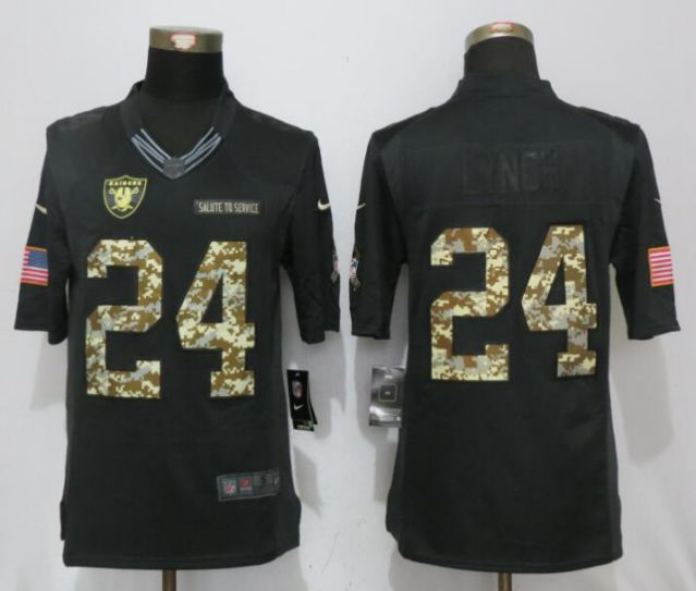 2017 NFL NEW Nike Oakland Raiders 24 Lynch Anthracite Salute To Service Limited Jersey