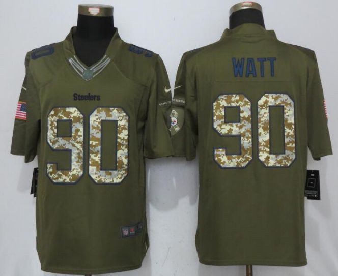 2017 NFL NEW Nike Pittsburgh Steelers 90 Watt Green Salute To Service Limited Jersey