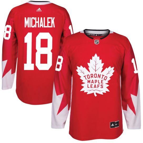 2017 NHL Toronto Maple Leafs Men 18 Milan Michalek red jersey