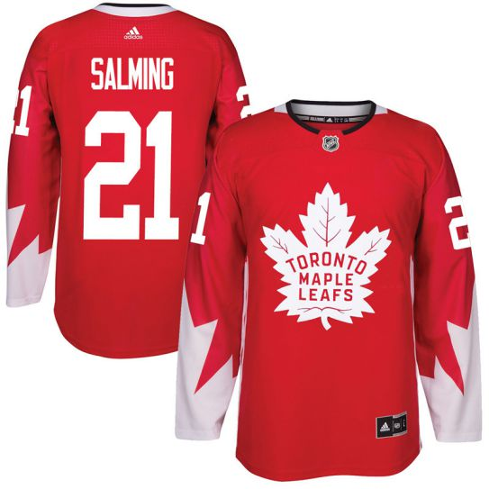 2017 NHL Toronto Maple Leafs Men 21 Borje Salming red jersey