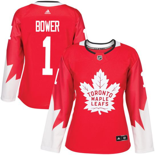 2017 NHL Toronto Maple Leafs women 1 Johnny Bower red jersey