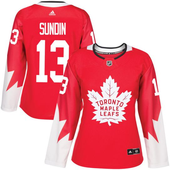 2017 NHL Toronto Maple Leafs women 13 Mats Sundin red jersey