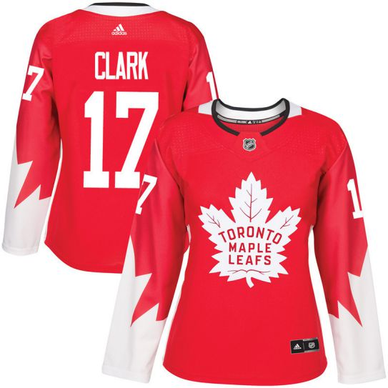 2017 NHL Toronto Maple Leafs women 17 Wendel Clark red jersey