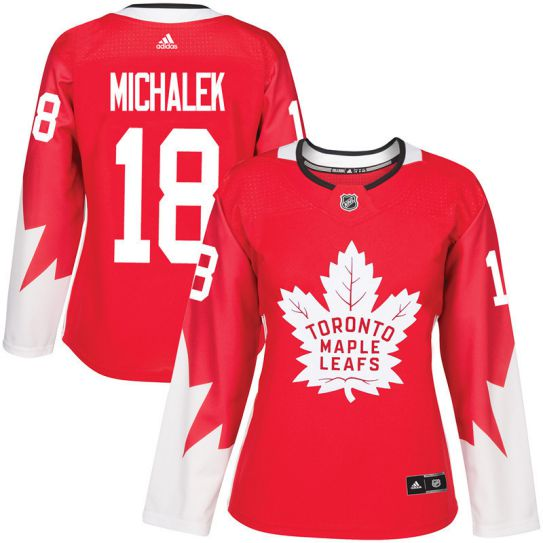 2017 NHL Toronto Maple Leafs women 18 Milan Michalek red jersey