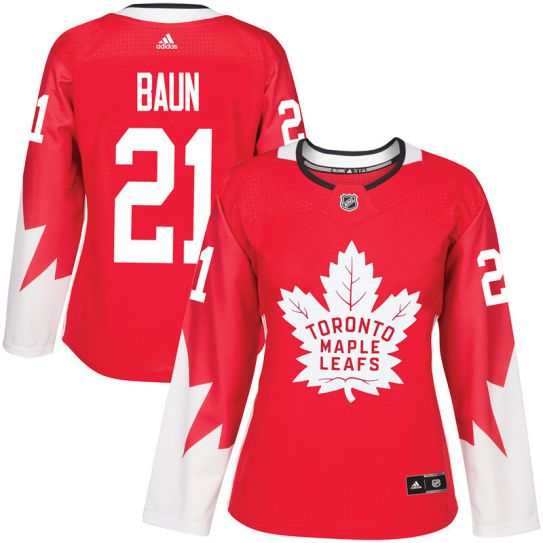 2017 NHL Toronto Maple Leafs women 21 Bobby Baun red jersey