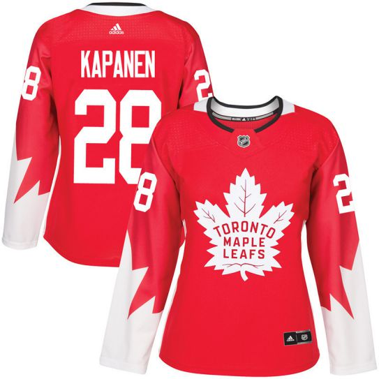 2017 NHL Toronto Maple Leafs women 28 Kasperi Kapanen red jersey