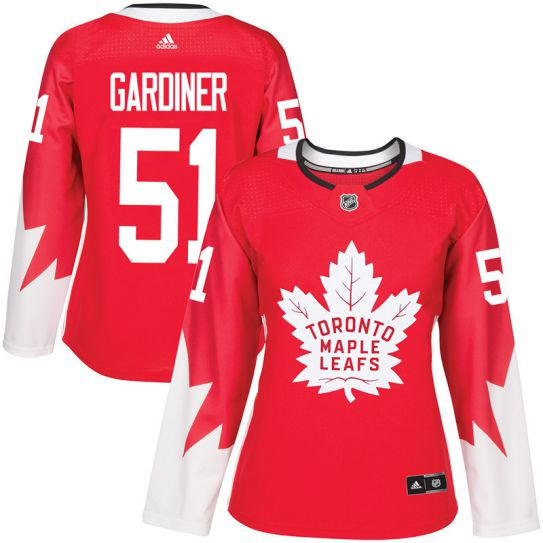 2017 NHL Toronto Maple Leafs women 51 Jake Gardine red jersey