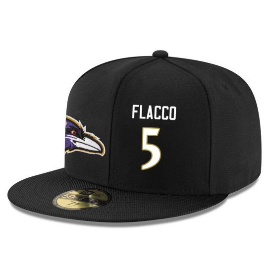 Baltimore Ravens 5 Flacco Black NFL Hat
