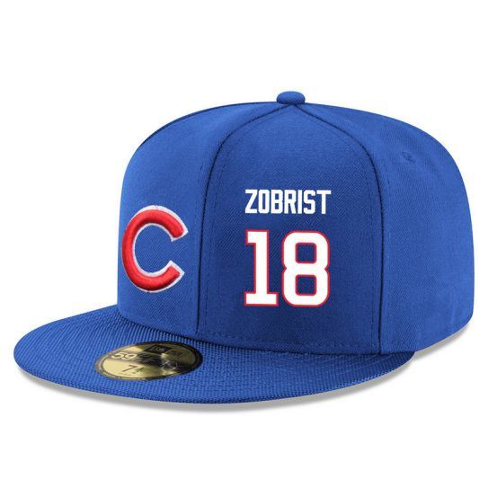 Chicago Cubs 18 Zobrist Blue MLB Hat