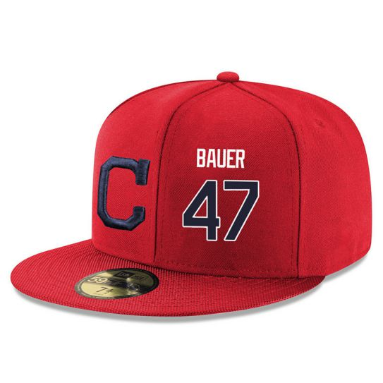 Cleveland Indians 47 Bauer Red MLB Hat