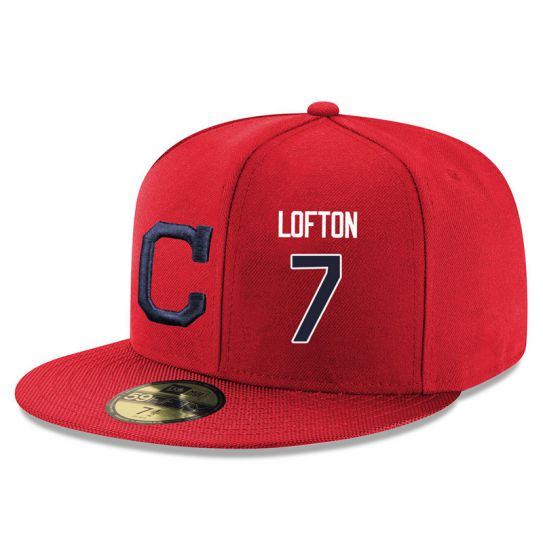 Cleveland Indians 7 Lofton Red MLB Hat