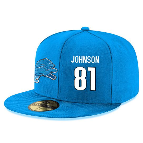 Detroit Lions 81 Johnson Blue NFL Hat