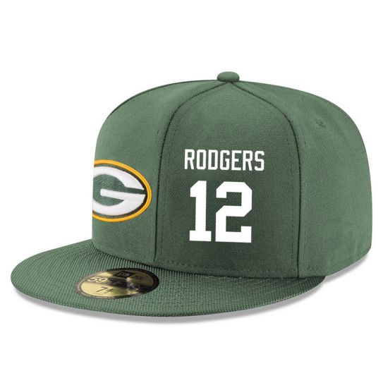 Green Bay Packers 12 Rodgers Green NFL Hat