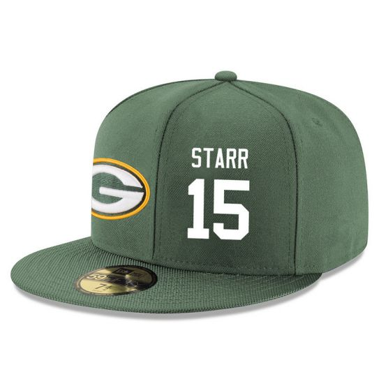 Green Bay Packers 15 Starr Green NFL Hat