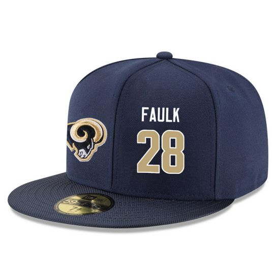 Los Angeles Rams 28 Faulk Blue NFL Hat
