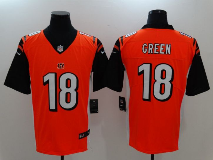 Men Cincinnati Bengals 18 Green Orange Nike Vapor Untouchable Limited NFL Jerseys