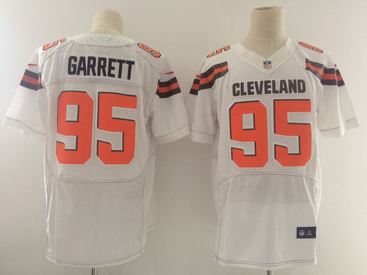 Men Cleveland Browns 95 Garrett White Nike Elite Jerseys