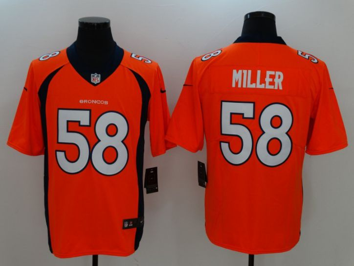 Men Denver Broncos 58 Miller Orange Nike Vapor Untouchable Limited NFL Jersey