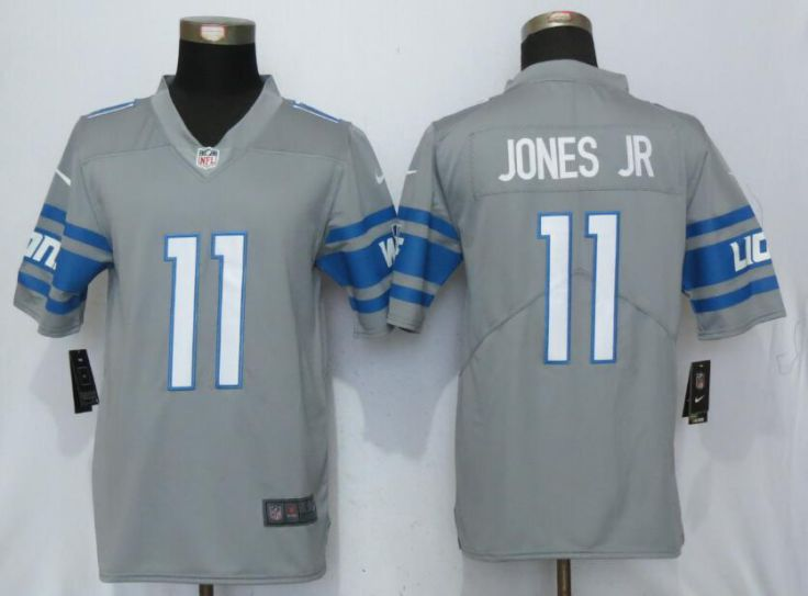 Men Detroit Lions 11 Jones jr Steel Color Rush Gray New Nike Limited NFL Jersey