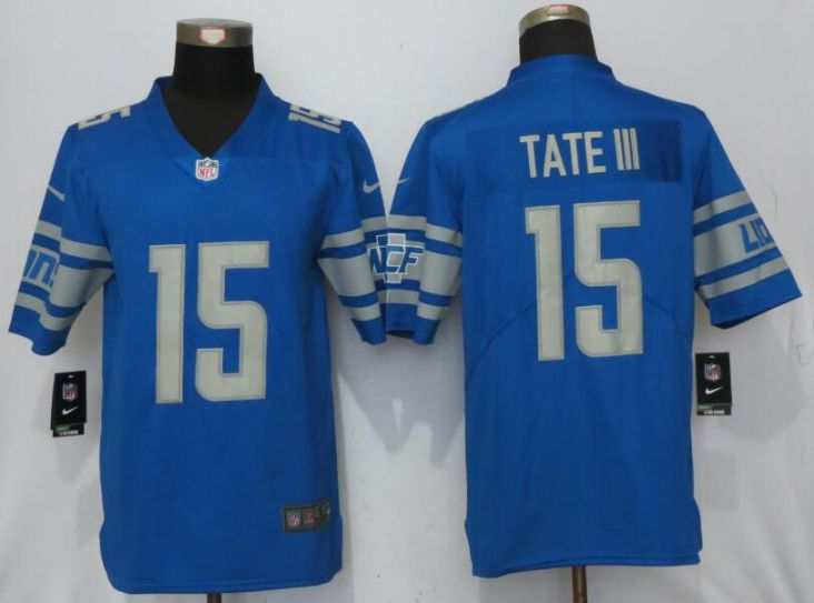 Men Detroit Lions 15 Tate lll Blue Vapor Untouchable New Nike Limited Player