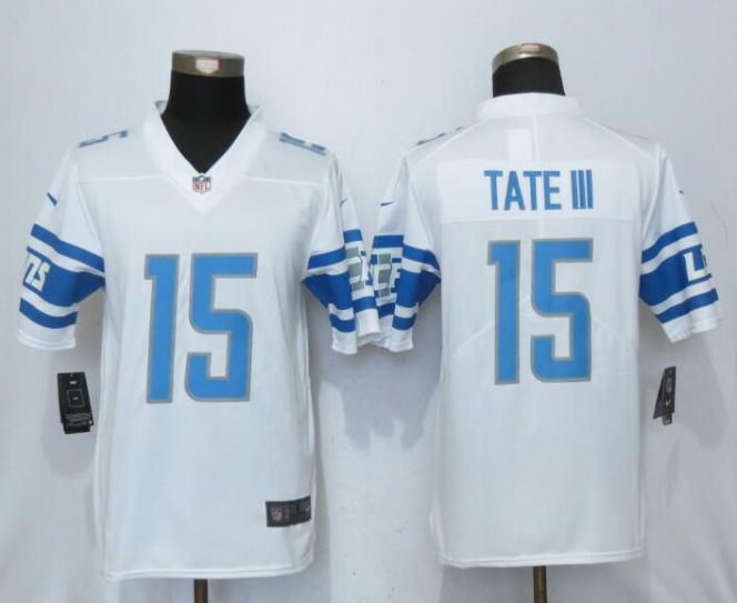Men Detroit Lions 15 Tate lll White Vapor Untouchable New Nike Limited Player