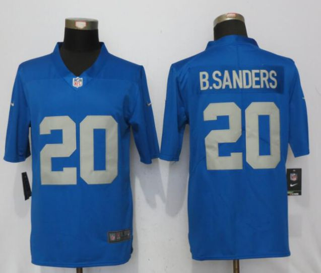 Men Detroit Lions 20 B.Sanders Blue Throwback Retired Player Vapor Untouchable New Nike Limited NFL Jersey