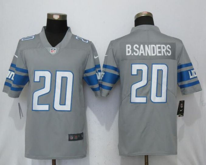 Men Detroit Lions 20 B.Sanders Steel Color Rush Gray New Nike Limited NFL Jersey