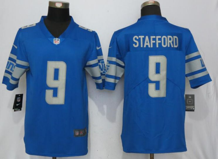 Men Detroit Lions 9 Stafford Blue Vapor Untouchable New Nike Limited Player