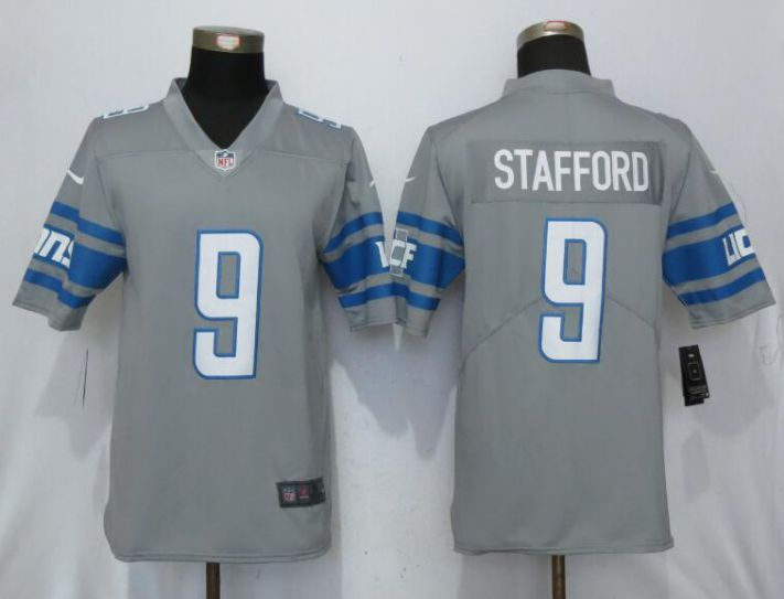 Men Detroit Lions 9 Stafford Steel Color Rush Gray New Nike Limited NFL Jersey
