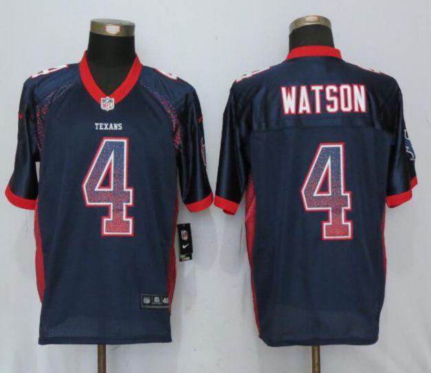 Men Houston Texans 4 Watson Drift Fashion Blue New Nike Elite NFL Jerseys