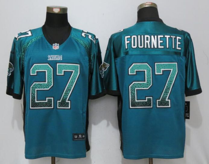Men Jacksonville Jaguars 27 Fournette Green Drift Fashion Nike Elite NFL Jerseys