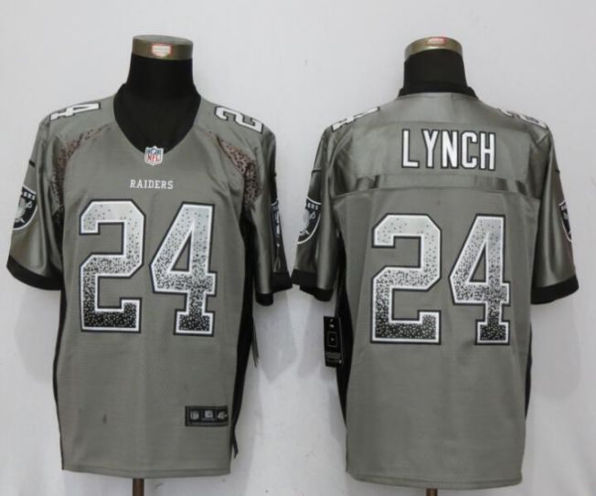 Men Oakland Raiders 24 Lynch Drift Fashion Gray NEW Nike Elite NFL Jerseys