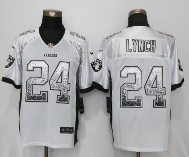 Men Oakland Raiders 24 Lynch Drift Fashion White NEW Nike Elite NFL Jerseys